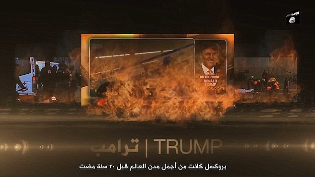 Trump has already featured in one video (shown) released by ISIS to claim responsibility for the Brussels attacks