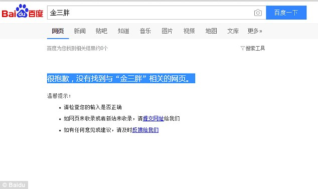 "The screenshot on Baidu said: 'Apologies, no web pages related to ""jin san pang"" were found'"