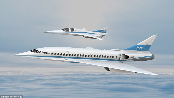 Flight times from London to New York could be slashed to just 3 hours 15 minutes by 2025, if plans revealed by Boom Supersonic go ahead. Pictured are concept images of the full-sized, 55-seater aircraft, alongside the XB-1 mini version that will begin testing next year