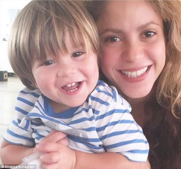 Doing better: Shakira has taken to Instagram to thank her fans for their support and well wishes during her younger son's recent illness. She's pictured with Sasha, 22 months