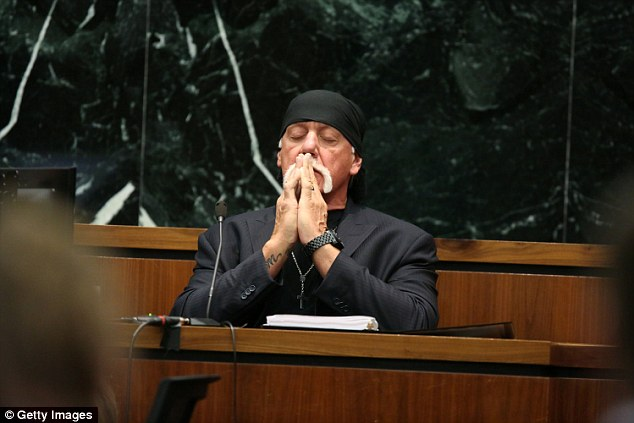 The filing came after he and and fellow ex-Gawker employee AJ Daulerio were found jointly liable in a $125million legal battle with Hulk Hogan (pictured in court)
