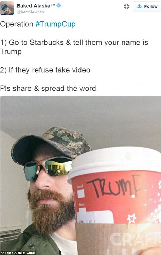 Protesters are ordering their coffee from Starbucks using the name 'Trump' so baristas will have to shout the last name of the president-elect when their drink is ready