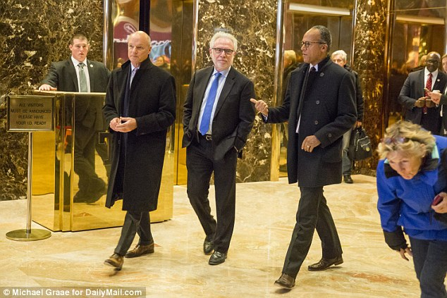 MSNBC president Phil Griffin, CNN anchor Wolf Blitzer and NBC Nightly News host Lester Holt departing the meeting with President-elect Trump on Monday afternoon