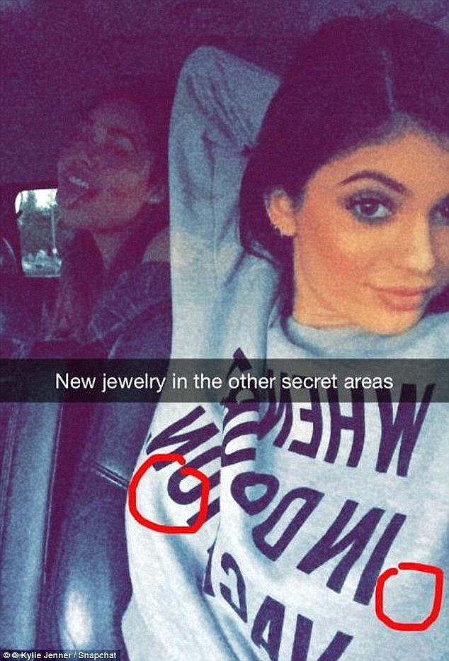'New jewelry in other secret areas': In April Kylieteased her new nipple piercings on Snapchat