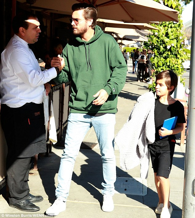 Making a meal of things: Scott Disick treated son Mason to lunch in Beverly Hills on Tuesday