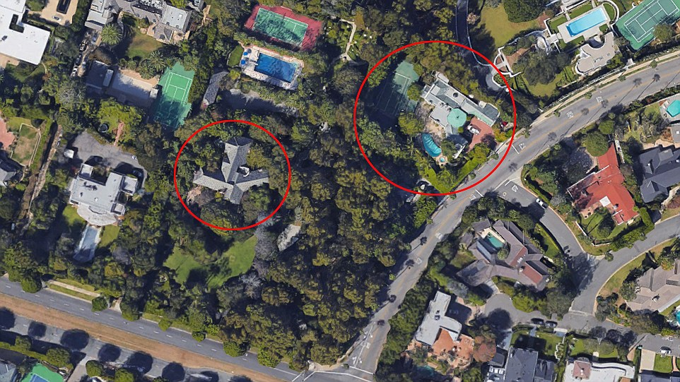 Ms Collins new house, circled right, is next door to her original home Waverly Mansion, circled left. Now she owns both of the houses