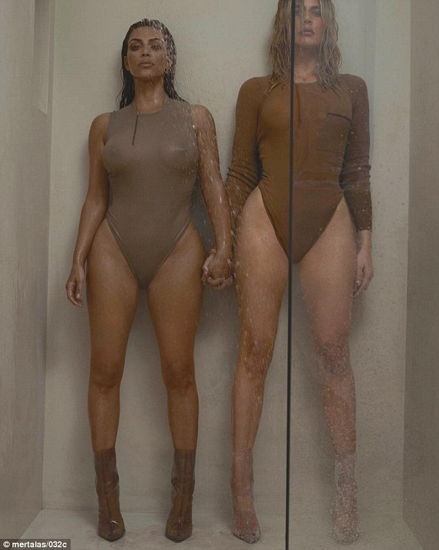 Making a splash: The siblings teamed up again, this time for a shower in sheer body suits