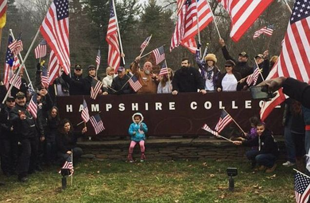Hundreds of veterans protest Hampshire College for removing American flag from campus