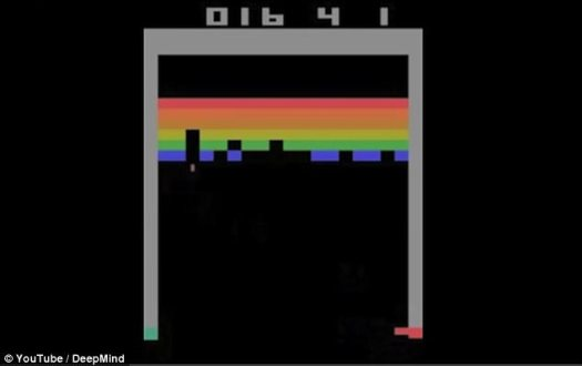In tests with Atari arcade classic Breakout, DeepMind's AI algorithm learned to play like a pro in just two hours and developed the most efficient strategy to beat the game after just four hours of play (still pictured)