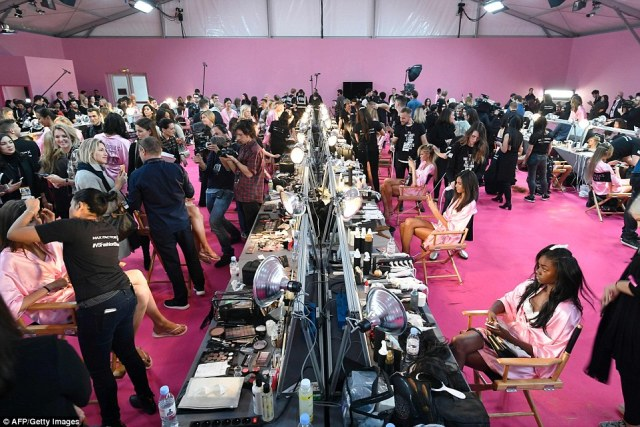 Getting it done: The preparation room was a mammoth task, with the models being prepped for one of the biggest shows of the year