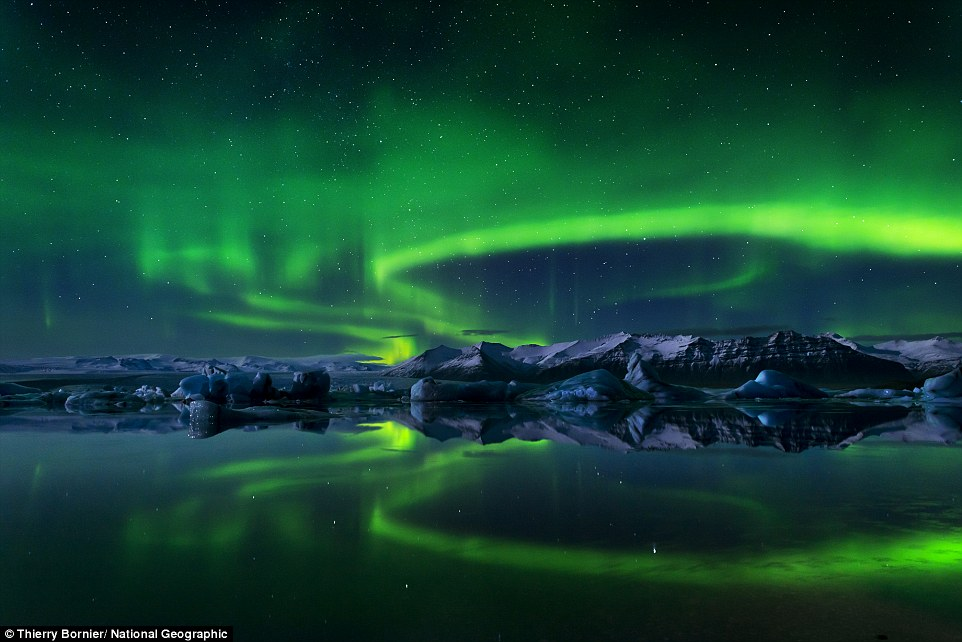 Iceland: Cold Icelandic waters catch the aurora borealis's iridescence