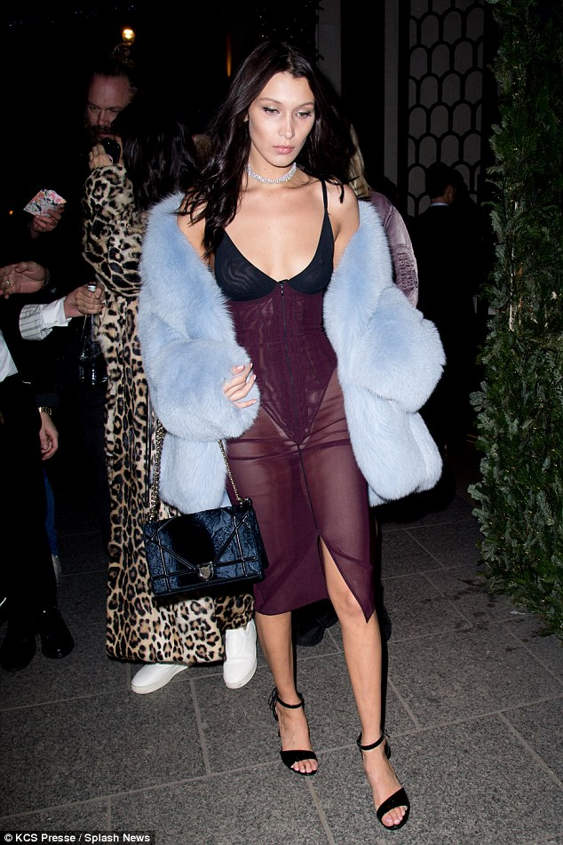 Lady in lingerie: It seems Bella Hadid was so enamoured with the Victoria's Secret Fashion Show outfits that she decided to don a similar style for the after-party in Paris on Wednesday
