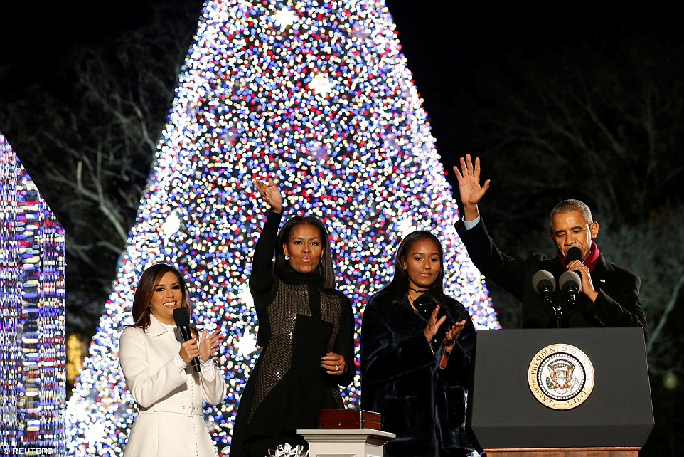 The president was joined by his wife Michelle, daughter Sasha and actress Eva Longoria, who hosted the event