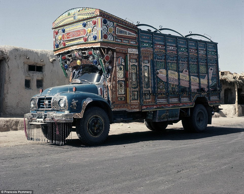 A brightly painted Afghan truck in 1974 with a jet plane motif