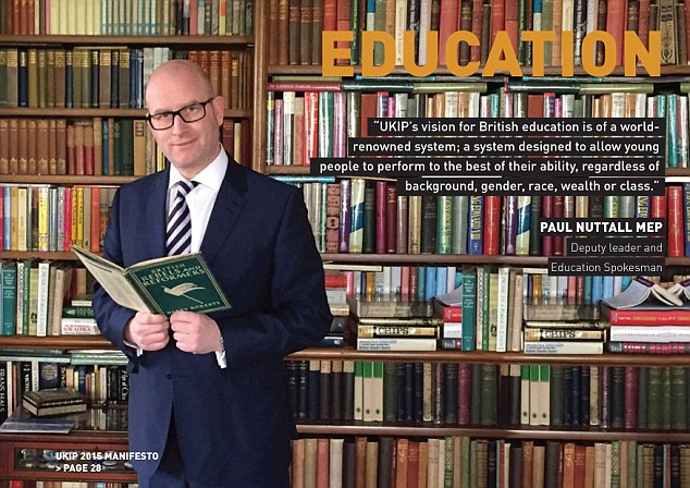 Ukip leader Paul Nuttall MP is pictured standing in front of a book shelf that has been photoshopped and the books are repeated. The image appeared in the party's 2015 Manifesto