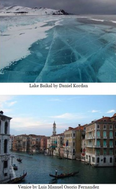 This image is totally fake - it's a composite created by Robert Johns who took ice from a photo of Russia's Lake Baikal and imposed it