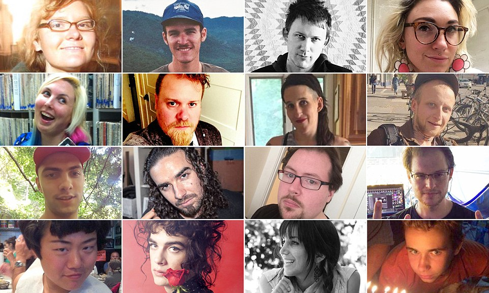 Victims: The scale of the tragedy which unfolded in Oakland is becoming apparent.The identified victims are (L-R, from top left) Donna Kellogg, 32, Nick Gomez-Hall, 25, Travis Hough, 35, Denalda Nicole Renae, 23, Chelsea Faith Dolan, Barrett Clark, Feral Pines, Micah Denamayer, David Cline, 24, Nex Iuguolo, 32, Pete Wadsworth, Jonathan Bernbaum, Ara Jo, Cash Askew, 22, Sara Hoda, 30 and Draven McGill, 17.