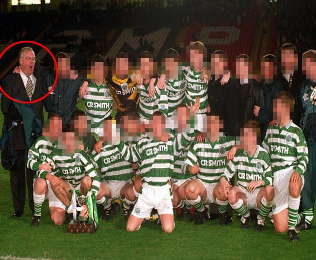 Scandal: Jim McCafferty, 71, circled left with a Celtic youth team, admitted he would attack underage footballers in the showers after matches and called them 'teenage orgies'