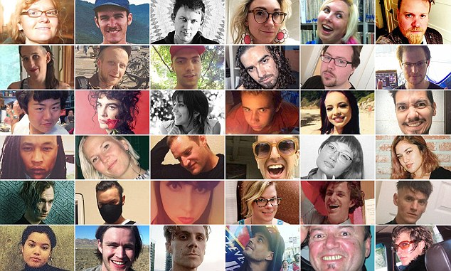 Victims: The lost of the warehouse tragedy. Top row L-R Donna Kellogg, Nick Gomez-Hall, Travis Hough, Nicole Siegrist aka Denalda Nicole, Chelsea Faith Dolan, Barrett Clark. Second row from top: Feral Pines, Micah Danemayer, David Cline, Chase Wittenauer aka Nex Iguolo, Pete Wadsworth, Jonathan Bernbaum. Third row from top: Ara Jo, Cash Askew, Sara Hoda, Draven Mcgill, Michela Gregory, Johnny Igaz. Fourth road from top: Alex Ghassan, Hanna Ruax, Edmond Lapine, Em Bohlka, Jennifer Kiyomi Taouye, Jenny Morris. Fifth row from top: Ben Runnels, Alex Vega, alana Kane - Jennifer Mendiola, Amanda Allen (Kershaw), Griffin Madden, Joey Matlock aka Joey Casio. Bottom row: Vanessa Plotkin, Nicholas Walrath, Jason McCarty aka Jalien Adrian, Billy Dixon, Wolfgang Renner, Michelle Sylvan.