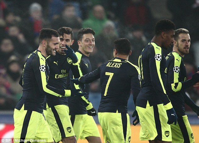 Arsenal  progressed to the last-16 unbeaten after finishing as Group A winners ahead of PSG