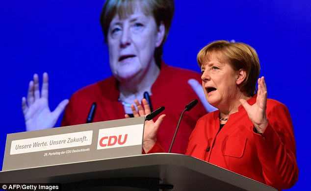 Angela Merkel (pictured, speaking at the CDU conference in Essen) faces a surge in the polls for the anti-migrant Alternativefür Deutschland party ahead of next year's elections