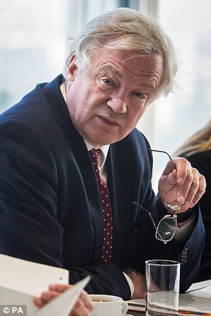 Brexit Secretary David Davis, pictured, told representatives of the City of London Corporation that it's 'unlikely' Britain will stay in the EU's single market