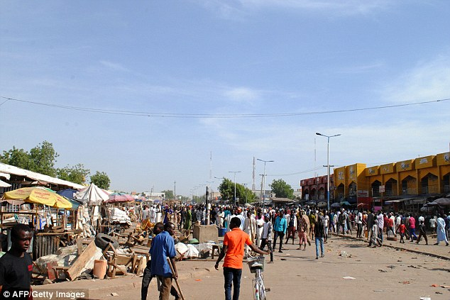 Nineteen people were left injured after the suicide bomb attacks at this market in Nigeria