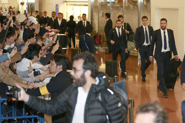 Real Madrid's team members arrive at Haneda International Airport in Tokyo, Monday, Dec. 12, 2016. Real Madrid are flying to Japan to take part in the FIFA C...