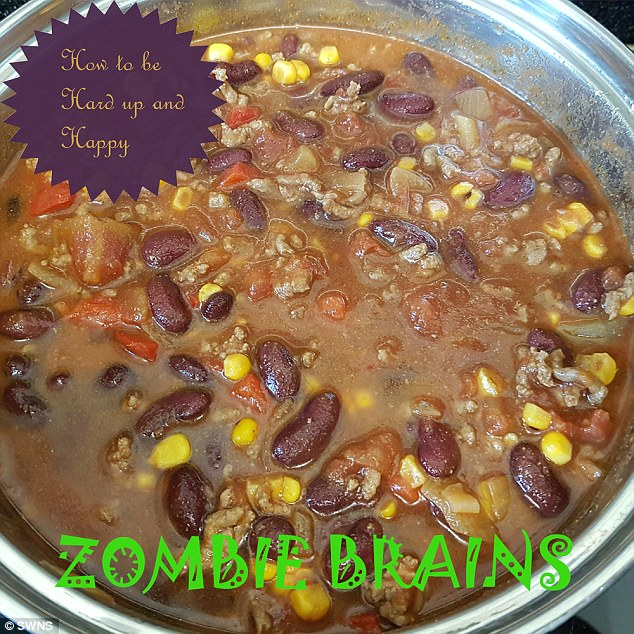 The blogger's 'zombie brains' meal made for the kids at Halloween is made from mince and leftover corn, as well as paprika and chilli powder