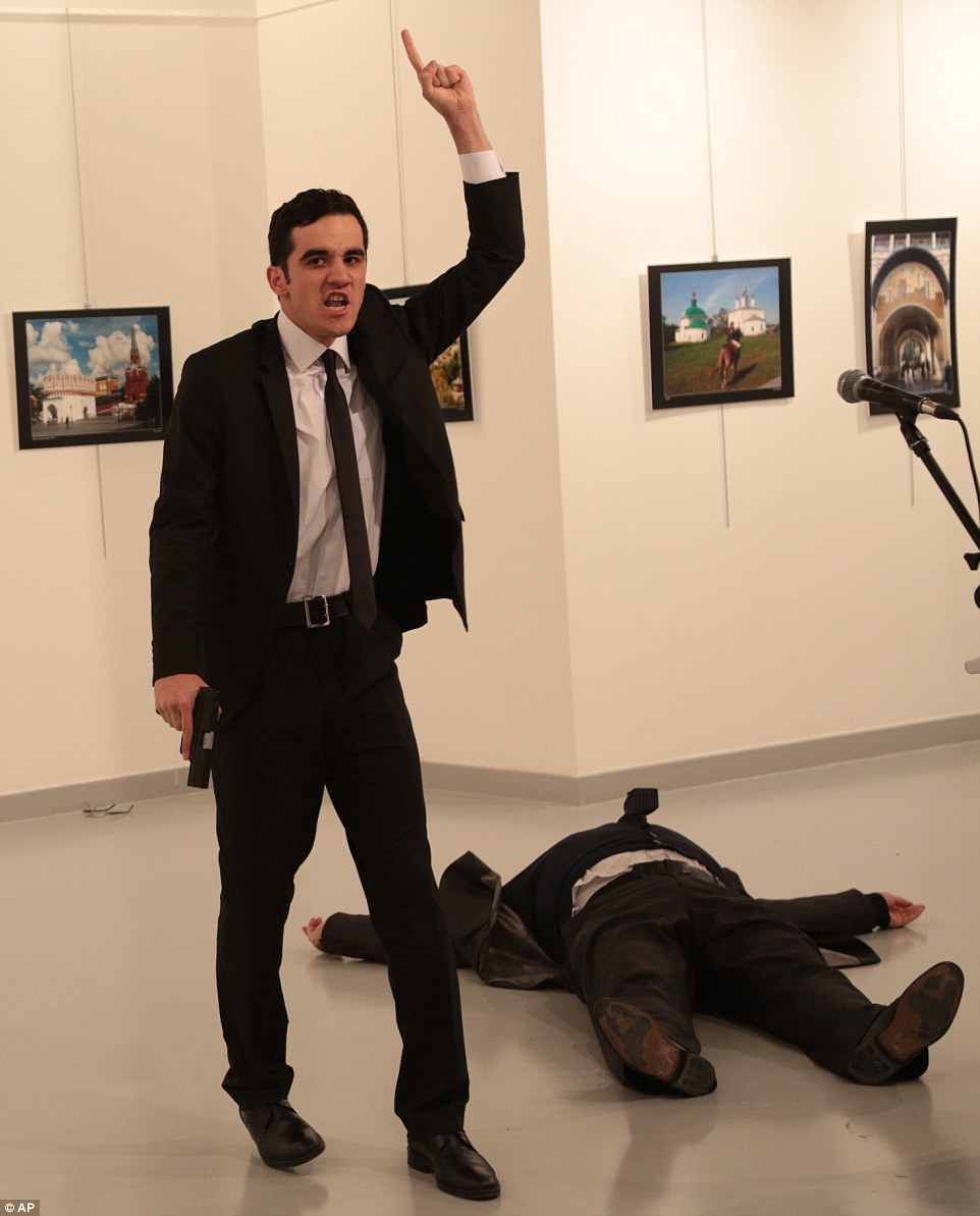 Gunman Mevlüt Mert Altintas, 22, a member of the Ankara special forces police department, fired into the air before taking aim at Andrei Karlov, the Russian ambassador to Turkey