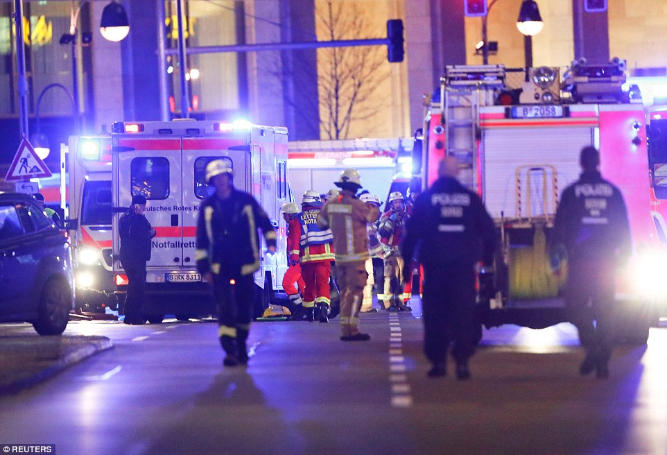 Police, fire crews and paramedics raced to the scene of the incident in Berlin as a rescue effort got underway