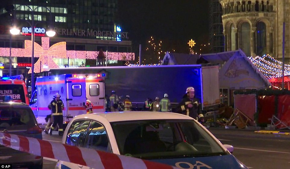 The vehicle sped through a crowd of shoppers at the Christmas market on Breitscheidplatz Square near the Kurfuerstendamm Avenue in west Berlin