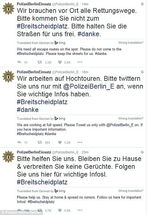 German police have urged civilians to remain at home