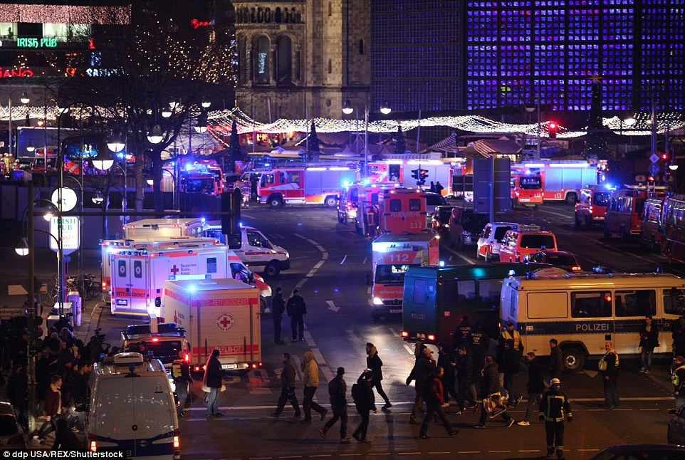 Carnage: There was absolute carnage in Berlin as the festive market turned into a harrowing and tragic scene