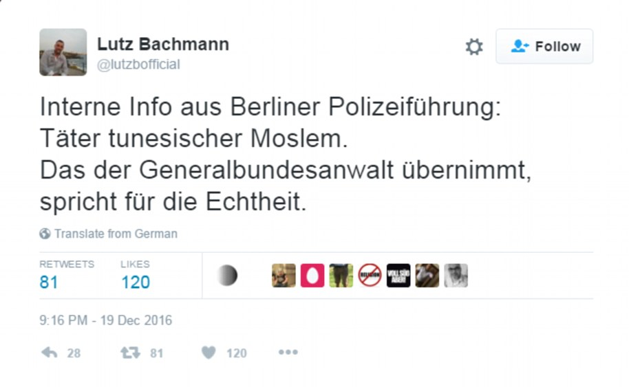 Just two hours after the attack happened, Lutz Bachmann, who heads the anti-immigrant PEGIDA group, tweeted that he had 'internal police information' that the perpetrator was a Tunisian