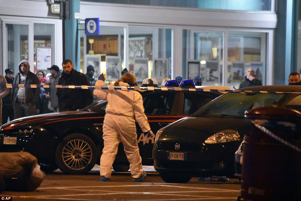 Investigation: Forensics were called to the scene after the Berlin lorry killer was shot dead