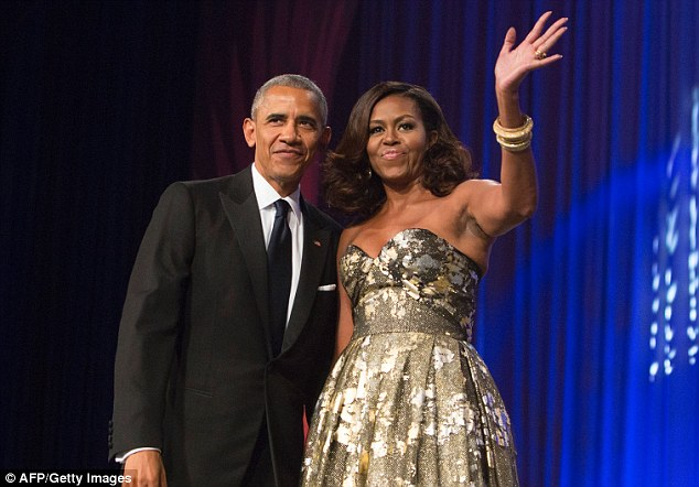 Paladino He also said of Michelle Obama: 'I'd like her to return to being a male and let loose in the outback of Zimbabwe' (Obamas above in September)