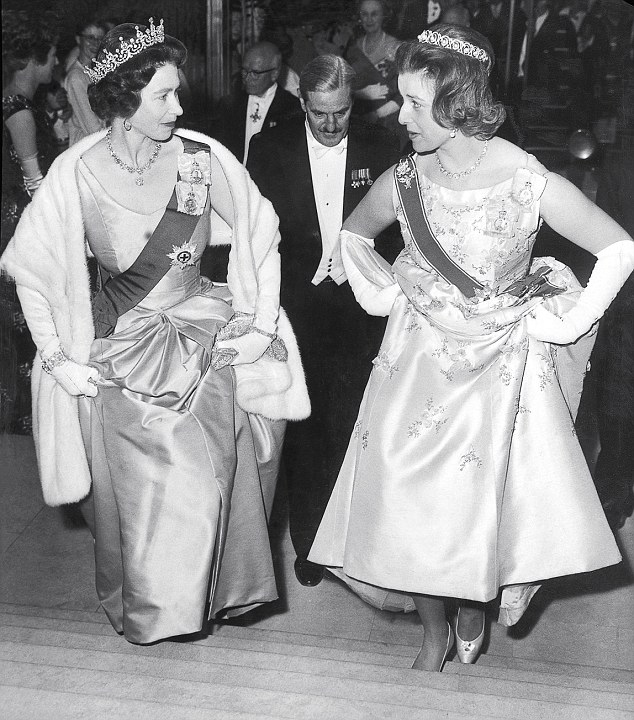 The monarch and her cousin at the Royal Festival Hall in 1962. Only days after Princess Alexandra was born — on Christmas Day, 1936 — her father Prince George was discovered 'in the company' of Paula Gellibrand, a noted society beauty married to a former MP