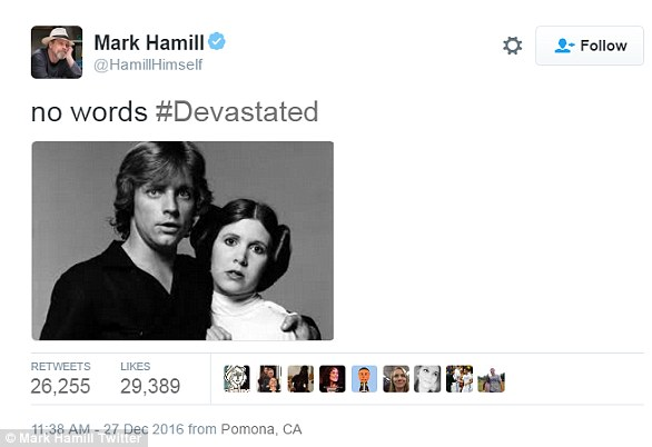 Blues:The icon's Star Wars co-star Mark Hamill, who played her brother Luke Skywalker in the franchise, shared: 'There are no words, I am devastated.'