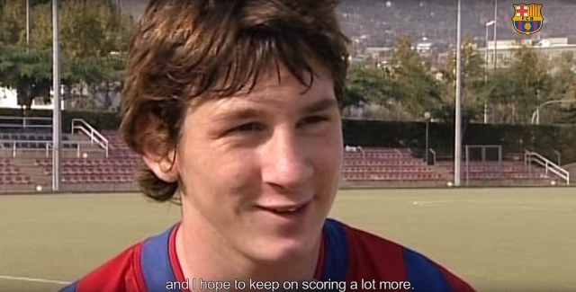 A young Lionel Messi is interviewed at the start of the impressive YouTube video, where he notes he would like to score more