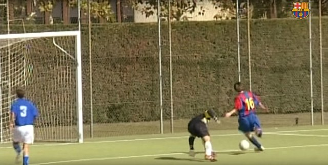 The clip, with never-before-seen footage of Messi in the La Masia academy, shows the Argentine scoring numerous goals