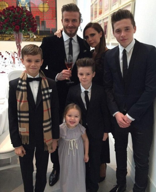 Talented family: Victoria is said to have told her children (from left) Romeo, Harper, Cruz and Brooklyn (here with dad David and mum Victoria) over the Christmas period