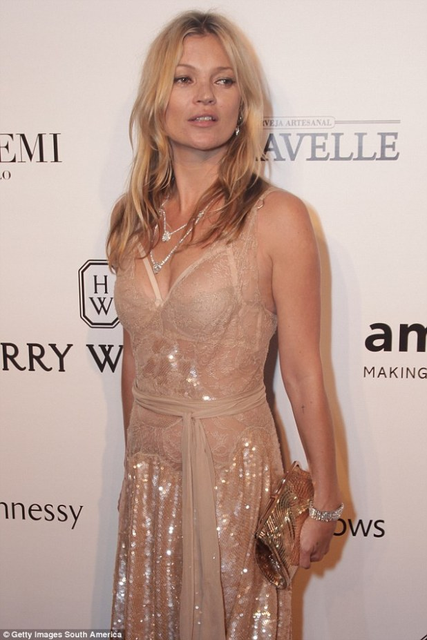 Unfortunately for those with smaller breasts, such as Kate Moss (pictured), smaller busts were on average deemed the least attractive by the men studied
