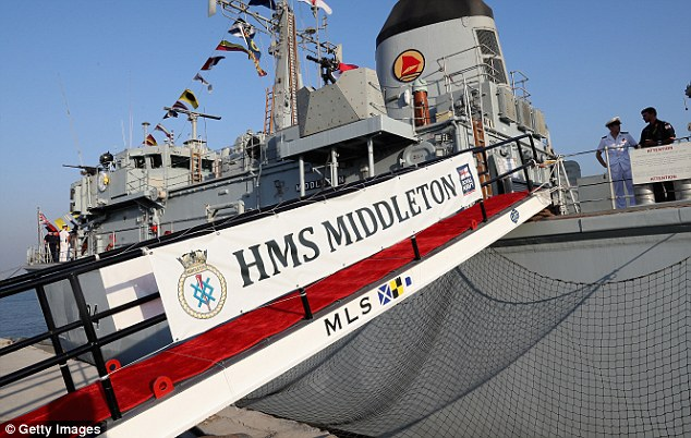 Prince Charles, Prince of Wales visits HMS Middleton at the Mina Salman Naval Support Facility on day three of a Royal tour of Bahrain on November 10, 2016