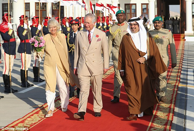 Camilla, Duchess of Cornwall and Prince Charles, Prince of Wales alongside Prince Salman bin Hamad bin Isa Al Khalifa, Deputy King, Crown Prince of Bahrain head to the Royal plane on day four of a Royal tour of Bahrain on November 11