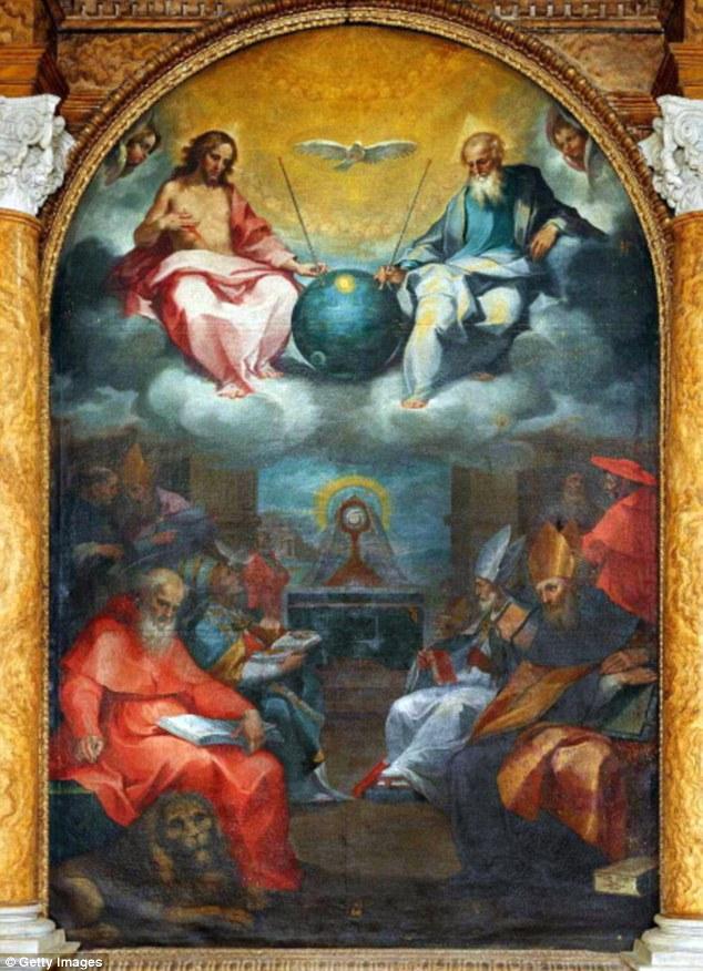 Este trabajo del siglo 17 por el artista italiano Ventura Salimbeni cuenta con Dios y Jesús mira hacia fuera sobre el universo que Dios creó.  Pero el objeto redondeado extraño se sentó entre los dos se asemeja satélite Sputnik de Rusia, puesto en marcha más de 350 años más tarde, en 1957