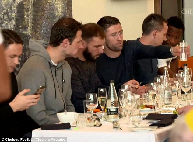 Nemanja Matic, Asmir Begovic, Branislav Ivanovic, Gary Cahill, John Terry and John Obi Mikel (left to right) enjoy their festive lunch