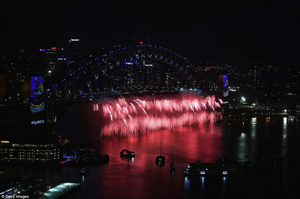 An early fireworks display was held for children at 9pm Sydney time ahead of the big event at midnight