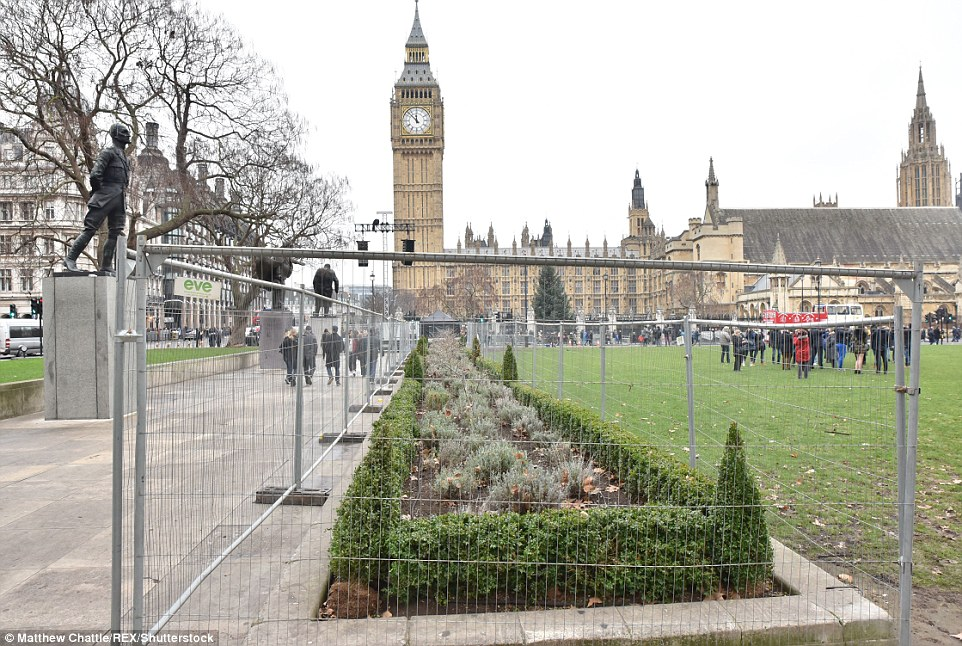 London prepares for the New Years Eve celebrations with fencing put up around areas such as Westminster