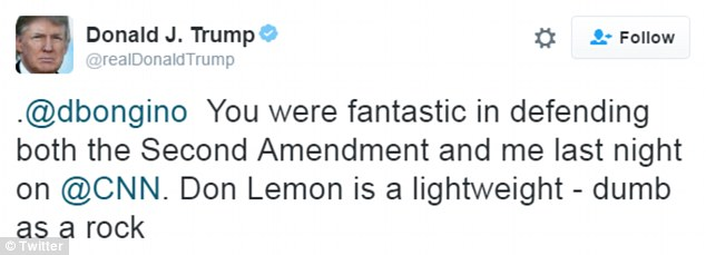 Slammed: It's not clear why Lemon was angry, but last year saw him being dismissed as a 'lightweight' and 'dumb as a rock' by Donald Trump, prior to his ascension to the White House